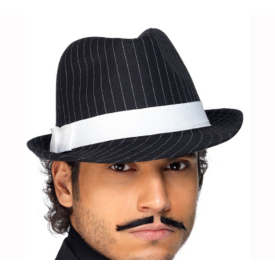 Fancy Dress Pinstripe Trilby Hat, Black