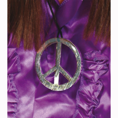 Fancy Dress Peace Sign Medallion, Silver