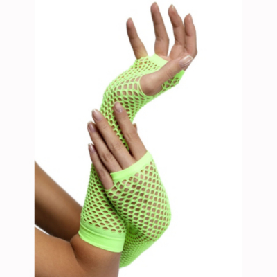 Fancy Dress Fishnet Gloves - Neon Green, Green