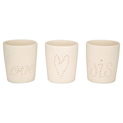 ASDA Word Tea light Holders - Cream, Cream