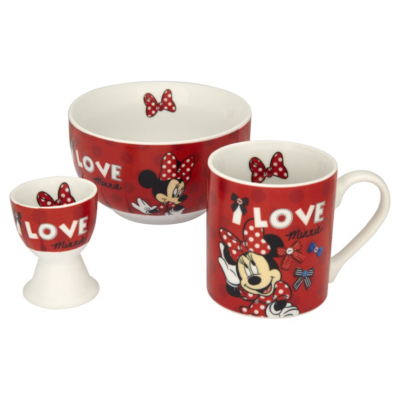 Minnie Mouse 3 Piece Breakfast Set, Red , white and black