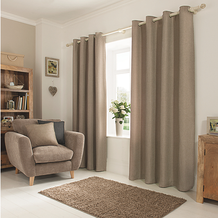 George home mink textured weave eyelet curtains curtains for Living room ideas mink