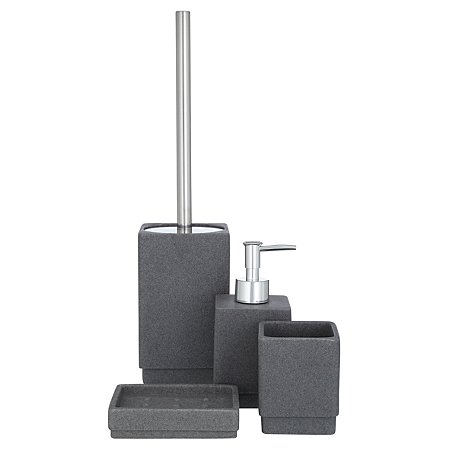 George home charcoal sandstone bath accessories range for Charcoal bathroom accessories