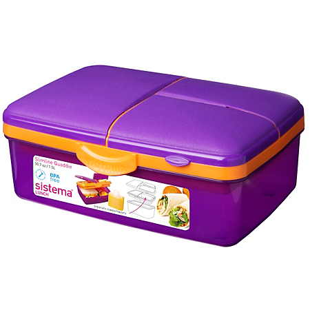 sistema purple slimline quaddie lunch box. Black Bedroom Furniture Sets. Home Design Ideas