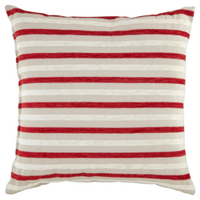 ASDA Chenille Stripe Cushion - Red, Red