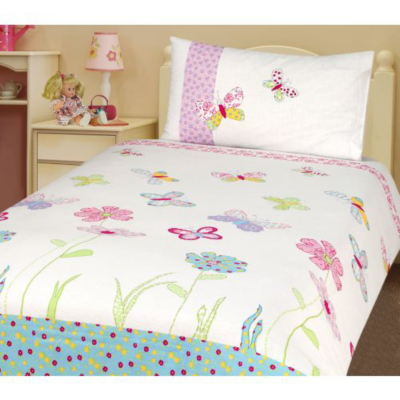 Butterfly Flowers Duvet Cover - Single,