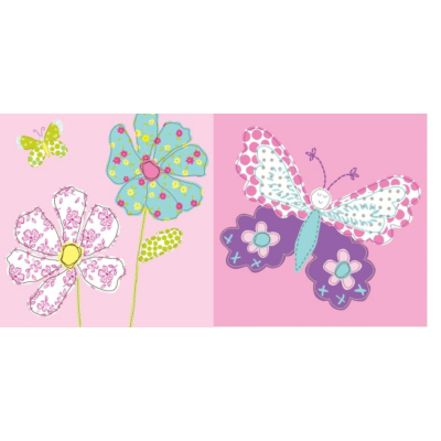 Butterfly Wallart- Set of 2 Pink, Pink 002486