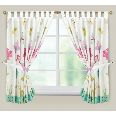 Butterfly Flowers Curtains - 54 x 66ins,