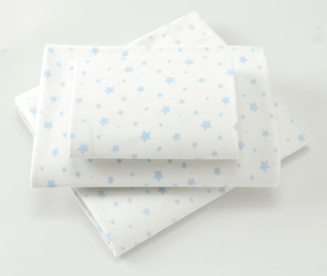 George Baby Blue Stars Fitted Cotbed Sheets