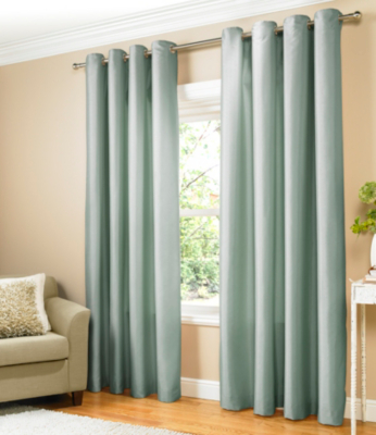 ASDA Duck Egg Textured Faux Silk Eyelet Curtains - Fully Lined - Various Sizes