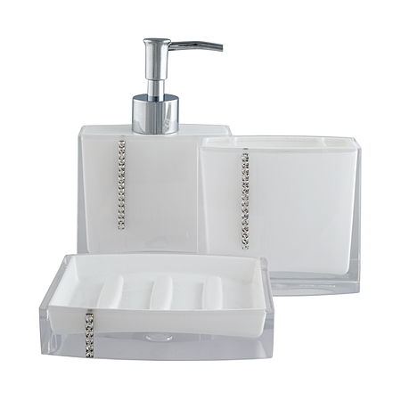 George home accessories white bling bathroom for Bathroom accessories with bling