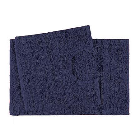george home 100 cotton pedestal and bath mat set navy. Black Bedroom Furniture Sets. Home Design Ideas