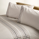 ASDA Embroidered Duvet Set Natural Tonal Spot - Various Sizes
