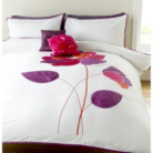 ASDA Embellished Duvet Set Violet Applique Flower - Various Sizes