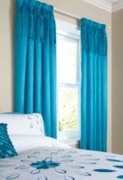 ASDA Tafetta Pleat Turquoise Curtains - 66x72 inches