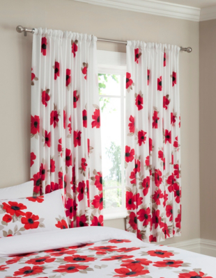 ASDA New Red Poppy Curtains - 66x72 inchs