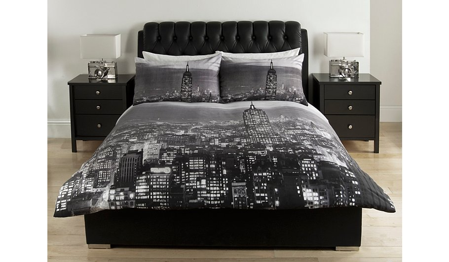 George home charcoal photographic skyline duvet set bedding george at asda for Cityscape bedroom furniture collection