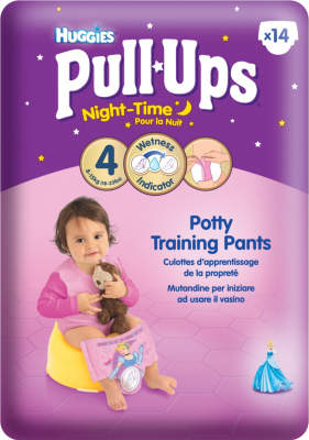 Huggies - Pull Ups Nappies - Med Girl - Night time x 14