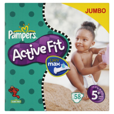 Pampers Active Fit Size 5+ (Junior+) Jumbo Pack - 58 Nappies