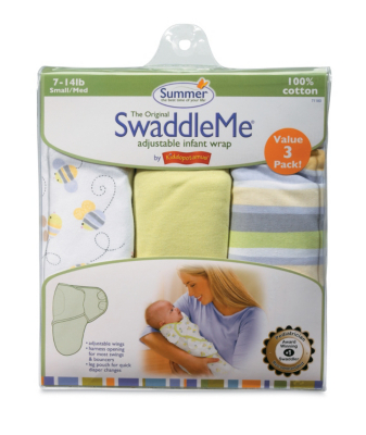 SwaddleMe Cotton 3-Pack- Busy Bee, Stripe, Sage