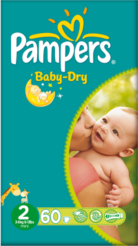 Pampers Nappies Baby Dry Size 2 (Mini) 3-6kg 60 Nappies