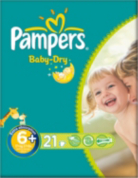Pampers Nappies Baby Dry Size 6+ (Extra Large +) 17+kg 21 Nappies