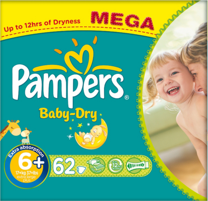 Pampers Nappies Baby Dry Size 6+ (Extra Large +) 17+kg 62 Nappies