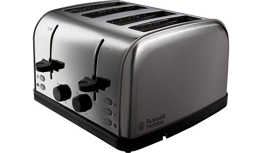 russell hobbs 18790 toaster 4 slice silver home garden george at asda. Black Bedroom Furniture Sets. Home Design Ideas
