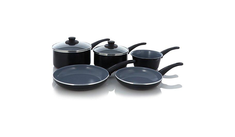 vitaverde by greenpan soft grip set of five pans pots. Black Bedroom Furniture Sets. Home Design Ideas