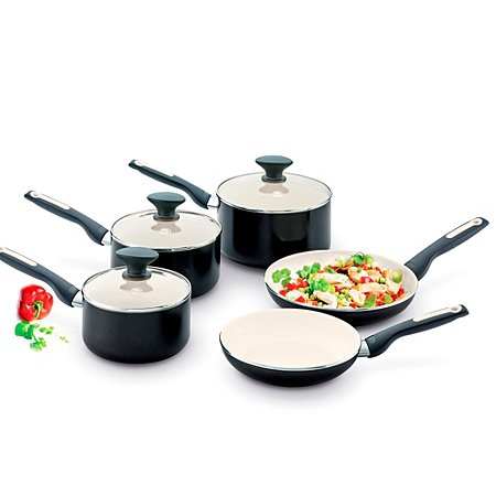 greenpan 5 piece sofia pan set pots pans asda direct. Black Bedroom Furniture Sets. Home Design Ideas
