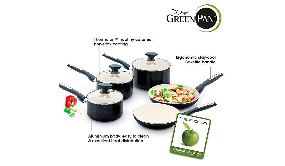greenpan 5 piece sofia pan set pots pans george at asda. Black Bedroom Furniture Sets. Home Design Ideas