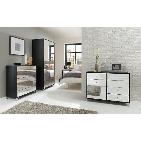 Moscow Bedroom Furniture Range Black Oak Effect Mirror Bedroom Ranges George At Asda