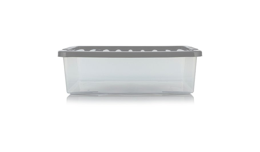 asda clear underbed box and lid 32l storage george at asda. Black Bedroom Furniture Sets. Home Design Ideas