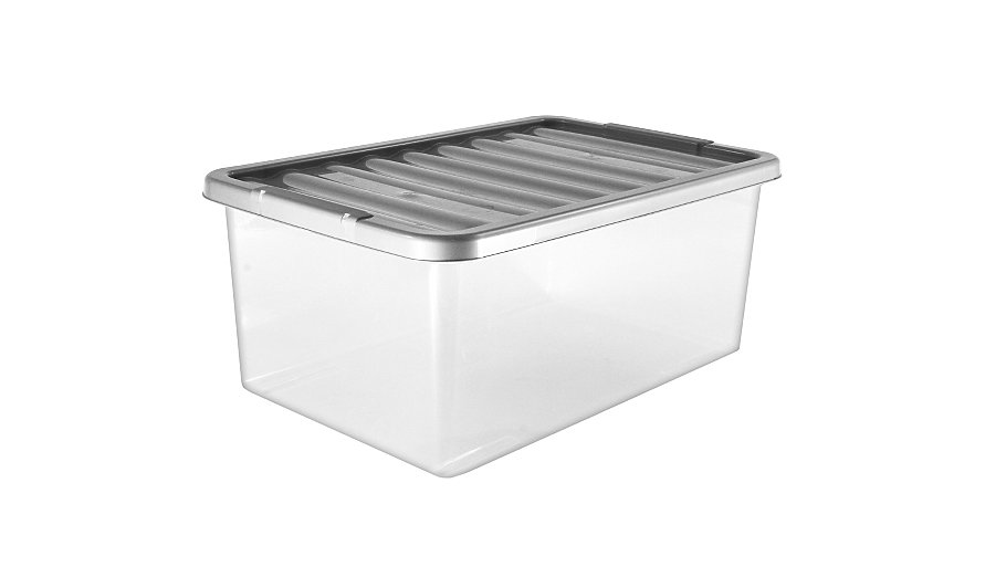 asda clear storage box and lid 45l storage george at. Black Bedroom Furniture Sets. Home Design Ideas