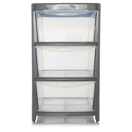 asda silver 3 drawer storage unit storage asda direct. Black Bedroom Furniture Sets. Home Design Ideas