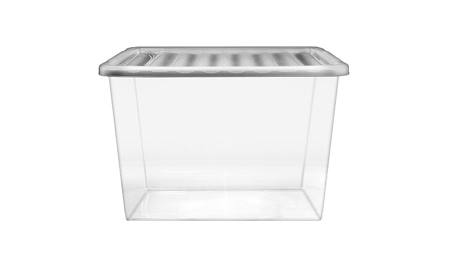 asda clear 80l storage box and lid storage george at asda. Black Bedroom Furniture Sets. Home Design Ideas