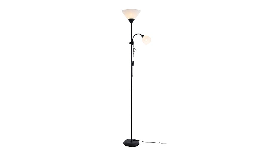 Inlight double floor lamp with reading light black for Floor lamp asda