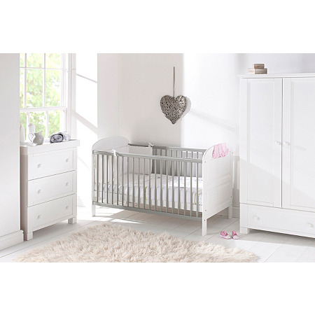 East Coast Angelina Cot Bed White And Grey