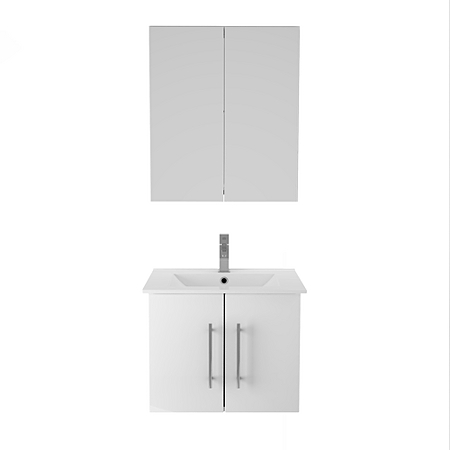 maine wall mounted bathroom sink unit and mirror cabinet white gloss