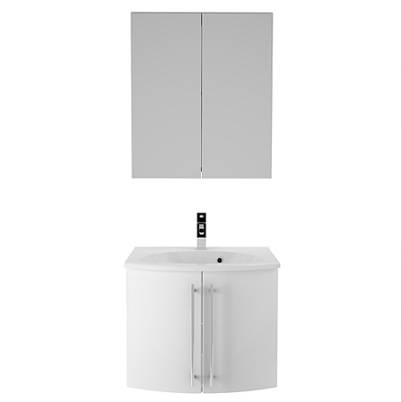 wall mounted bathroom sink unit and mirror cabinet white gloss