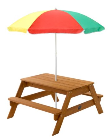 Plum Wooden Picnic Table and Parasol