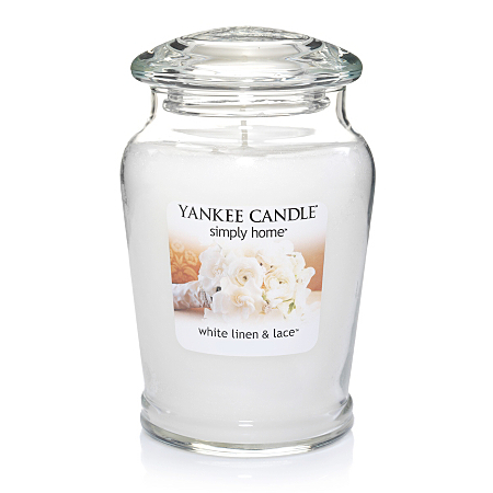 yankee candle large jar white linen and lace candles. Black Bedroom Furniture Sets. Home Design Ideas