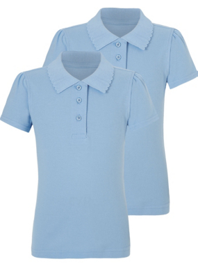 Girls School 2 Pack Scallop Polo Shirts