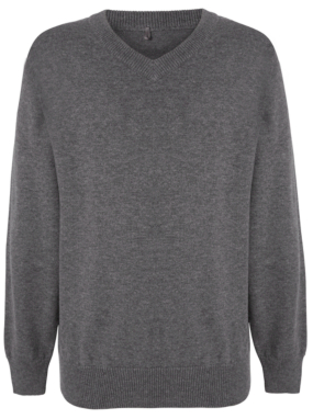 School Unisex V-Neck Jumper - Grey