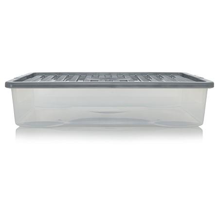 asda plastic storage box clear black lid 42l storage. Black Bedroom Furniture Sets. Home Design Ideas