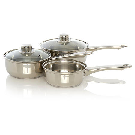 george home 3 piece stainless steel saucepan set pots. Black Bedroom Furniture Sets. Home Design Ideas