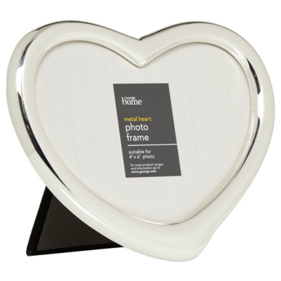 ASDA Silver Heart Photo Frame - 6 x 4ins, Silver