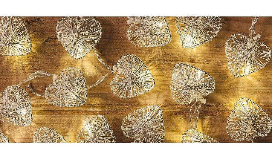 George Home Silver Heart String Lights Lighting ASDA direct