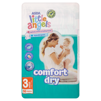 ASDA Little Angels Comfort Dry Midi Nappies 56 pack
