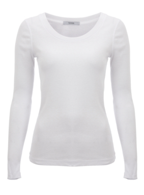 Long Sleeve Ribbed Top - White